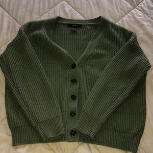 Olive green button up cardigan sweater